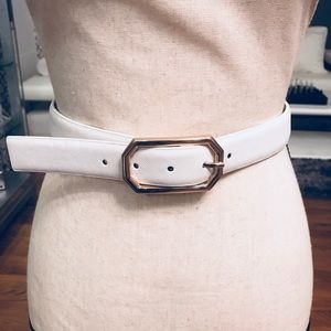 Style & Co White Leather Buckle Belt